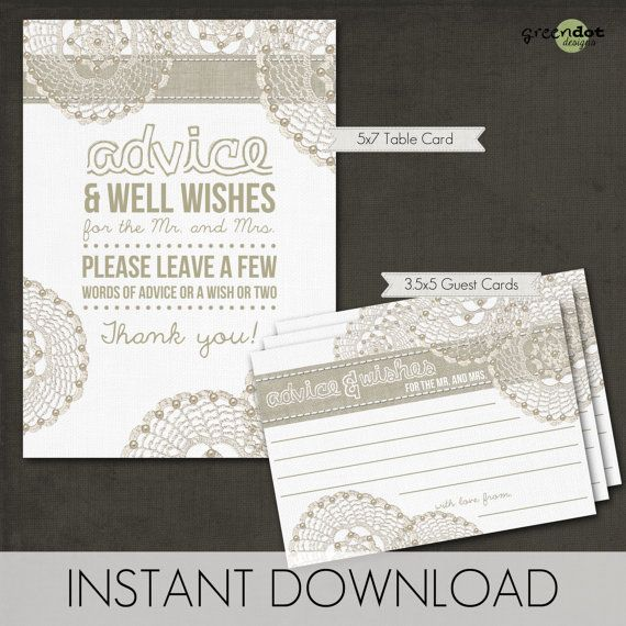 Advice Amp Well Wishes Cards Bridal Shower Advice Cards