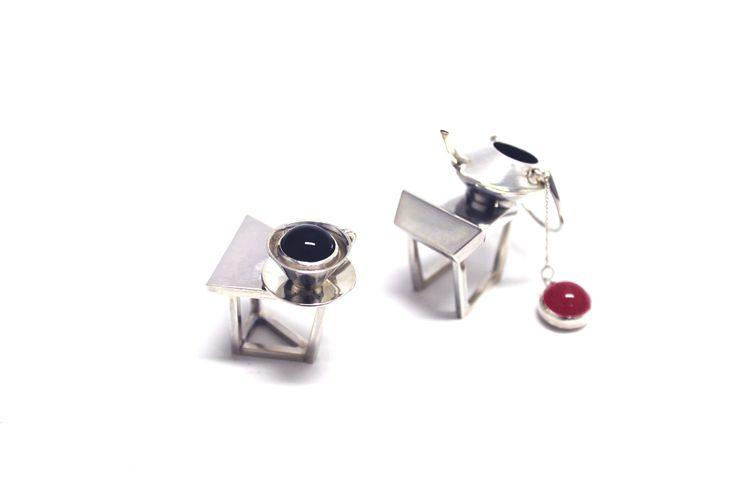 Tea table-ring/silver/jewelry/onyx/rose quartz/bezel setting/oval cut/kinetic
