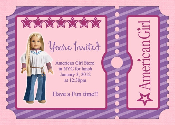 7 best ag invitations images on pinterest | american girl birthday, Birthday invitations