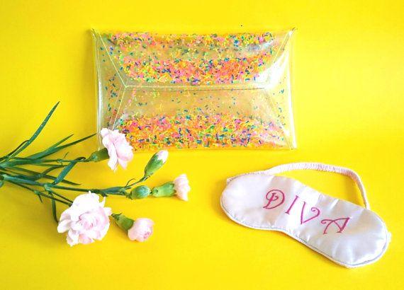 Fluorescent handbag Clear purse clutch transparent by YPSILONBAGS