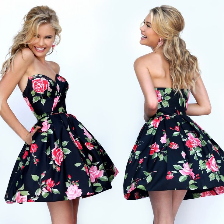 Ruched Floral Print A-Line Prom Dress by Sherri Hill