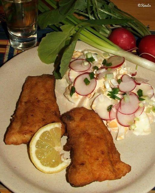 Katalin konyhája: Busa paprikás lisztben sütve, tojássalátával