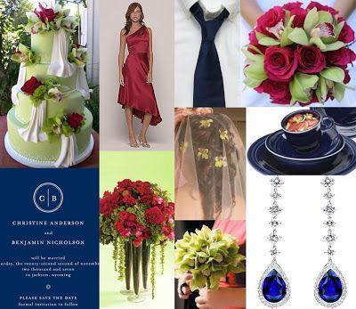 Cranberry, Pistachio & Navy | Interesting wedding ideas ...