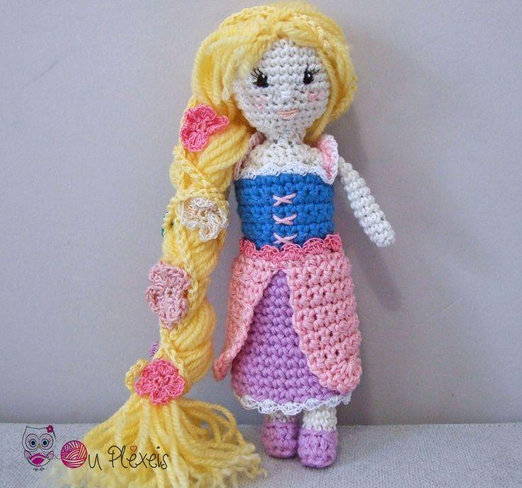 Rapounzel Doll Amigurumi, Crochet Stuffed Doll, Kids Toy, Nursery Toy, Little Doll Plush Amigurumi, Baby Girl Toy, Crochet Rapounzel Doll by Ouplexeis on Etsy