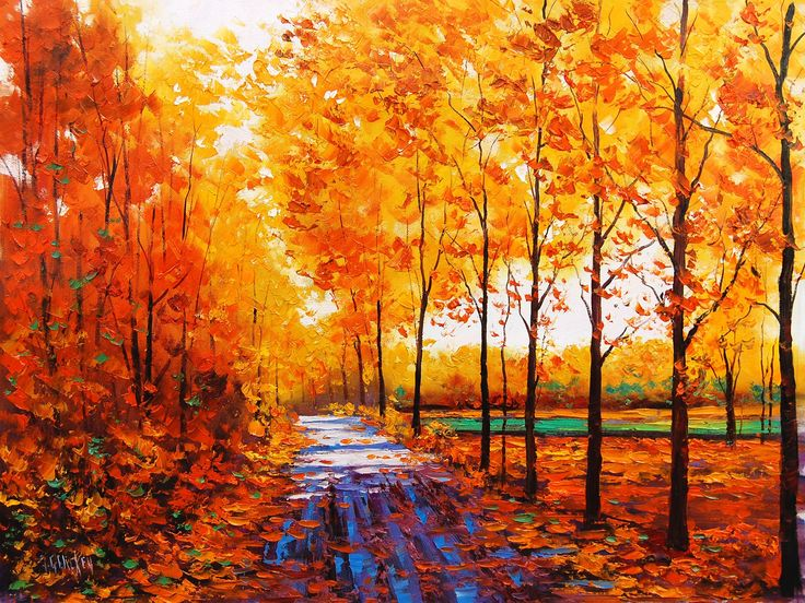 Art watercolor, autumn red maple forest with forest path wallpaper - 2560x1920