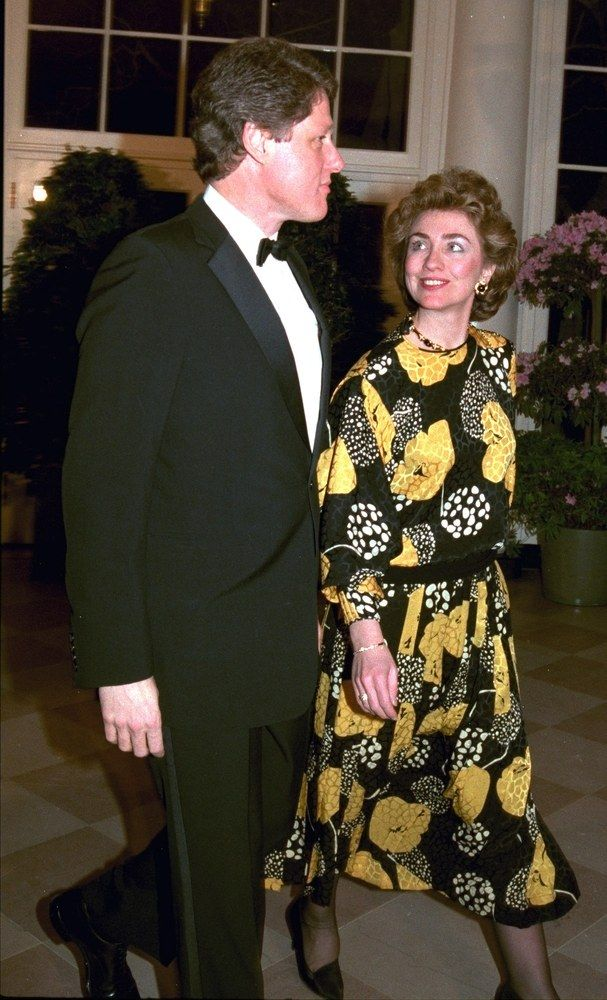 Arkansas Governor Bill Clinton and his wife Hillary arrive for dinner at the White House Sunday evening, Feb. 23, 1986.