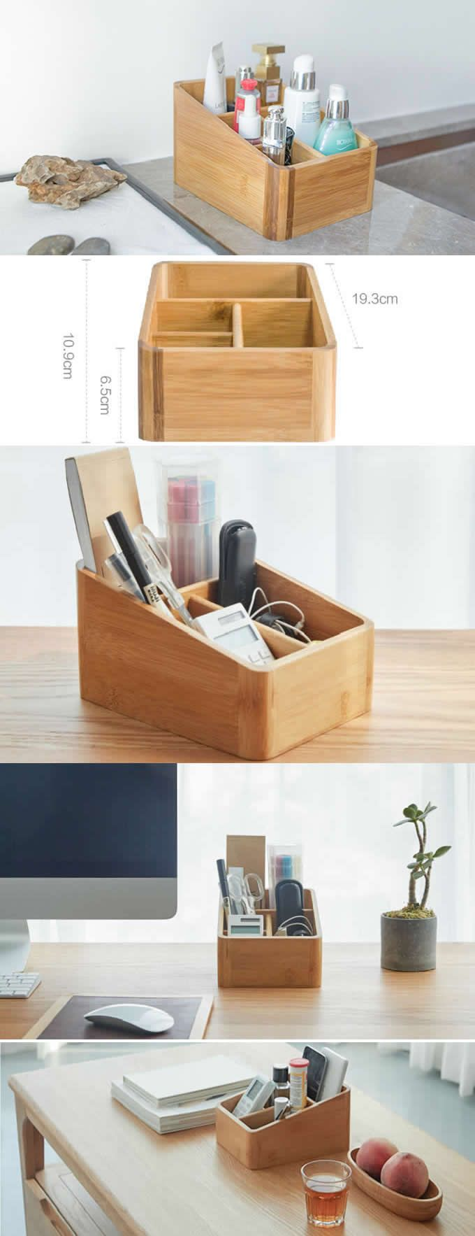 DIY Woodworking Ideas Bamboo Wooden Office Desk Organizer Pen Pencil Holder Stand Smart Phone Mobile Phone iPhone Dock Stand Holder Remote Control Holder Organizer Memo Holder Makeup Organizer Ideas - Phone Stand / Pencil Holder / Business Card Holder