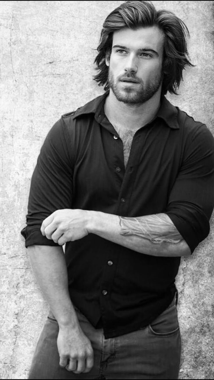 JUST LIFE STYLE™®: How Men Can Easily Grow Long Hair. Model Will Grant looks awesome with thicker longer hair. I love his hair and beard. #forearms