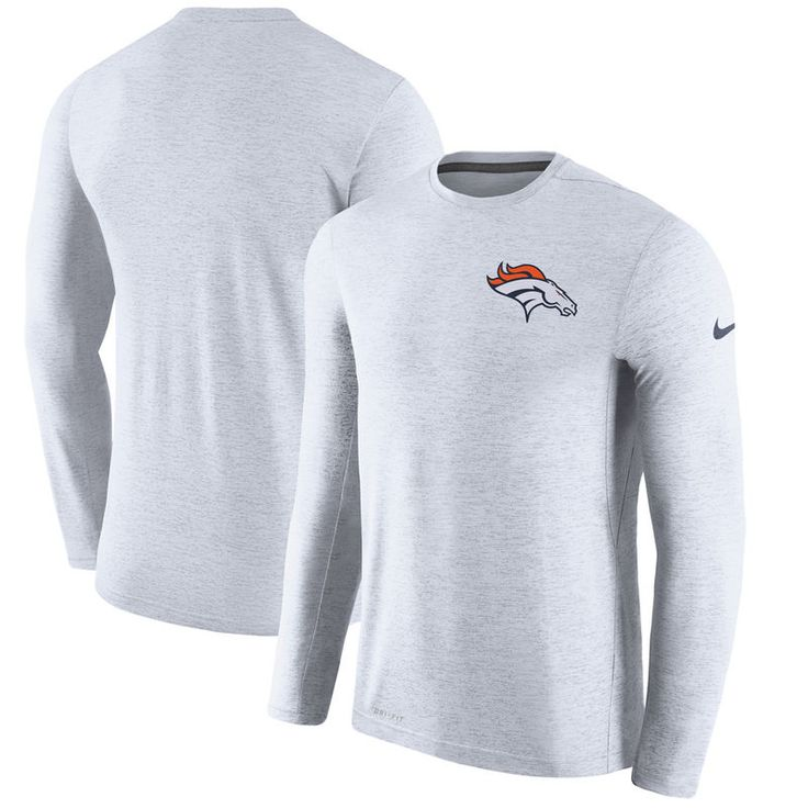 Denver Broncos Nike Coaches Long Sleeve Performance T-Shirt - White