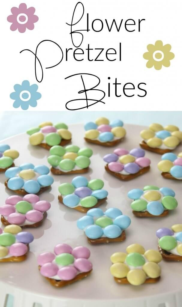 Spring Flower Pretzel Bites - Sweet and Salty Easter Treat - Princess Pinky Girl