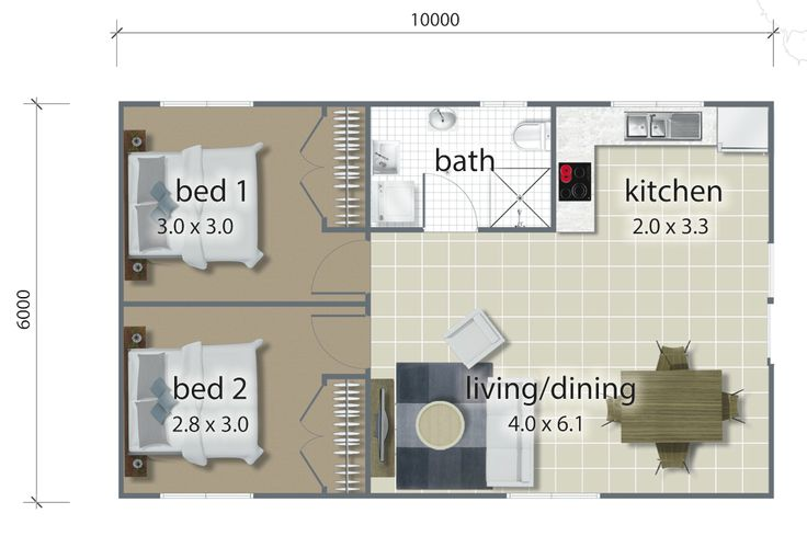The internal layout for the Deakin granny flat.