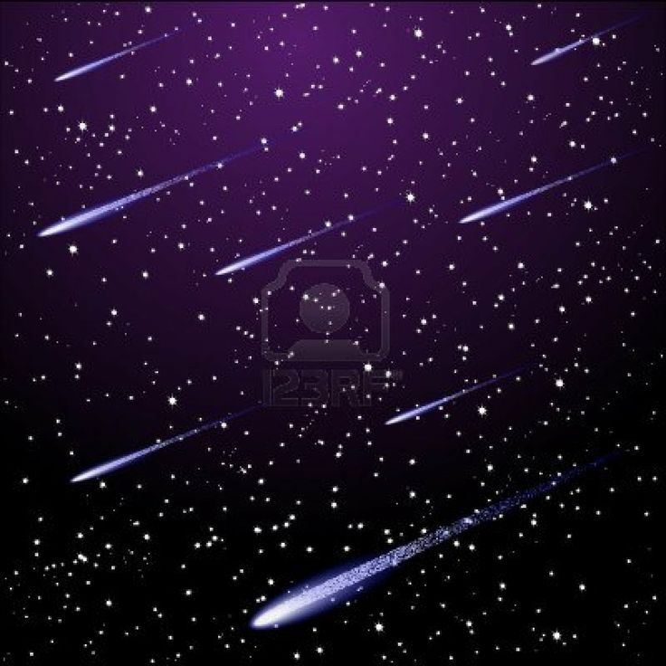 Wyoming Shooting Stars: Vector Starry Night Sky With Meteor Shower Stock Photo
