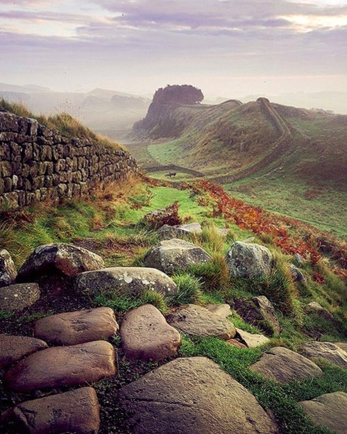 Hadrians wall, Northumberland England.  Built by the Romans to keep Scottish people out of the Roman city