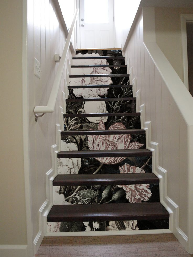 10 step stair riser decal, vintage pink and white flowers stair sticker. #remova…   – stairs