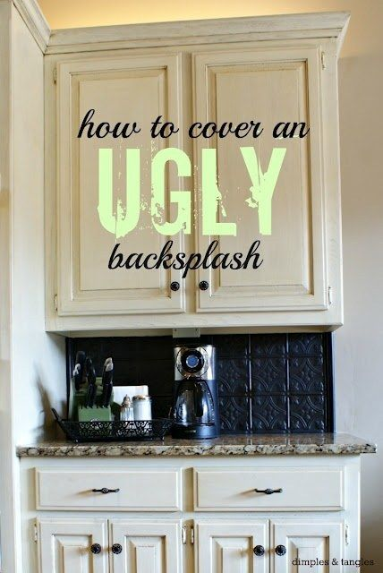 Hide an ugly backsplash with plastic tiles that look like tin. | 40 Easy DIYs That Will Instantly Upgrade Your Home