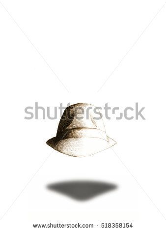 #Stock #image: #hand #drawing #pastel #illustration #brown #hat with #shadow #copy #space