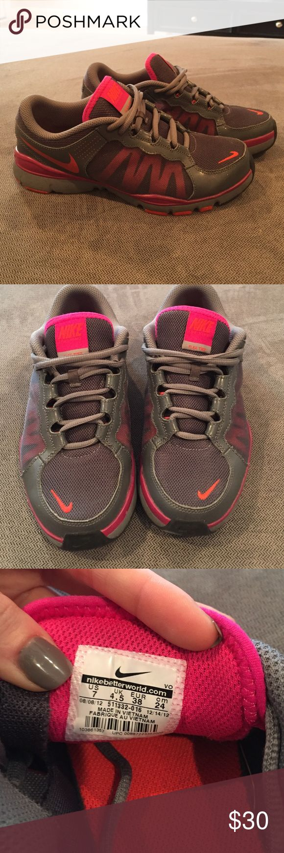 Nike Dual Fusion Grey and pink Nike dual fusion. Size 7. Great condition :) Nike Shoes Athletic Shoes
