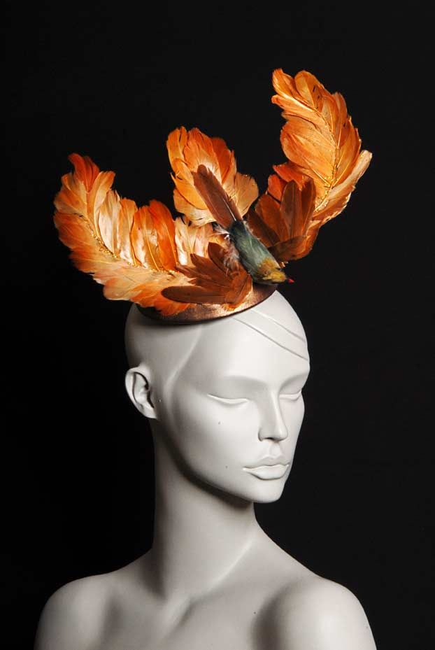 Wicked by Ipek Yaylacioglu Occasion millinery hats & hair accessory - Copper leather mini top hat with orange bird