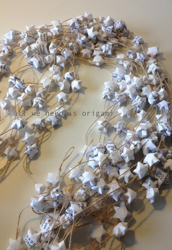 primitive wedding decoration ORIGAMI stars - recycled materials - origami garland by Allweneedisorigami on Etsy. $11.00, via Etsy.
