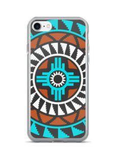 Coral/Turquoise Round Concho Zia Symbol iPhone 7/7 Plus Case