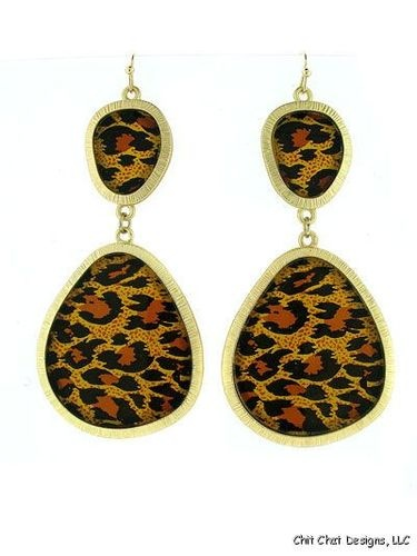 Animal Print Gold Brown Black Metal Chunky Hook Earrings Fashion Jewelry