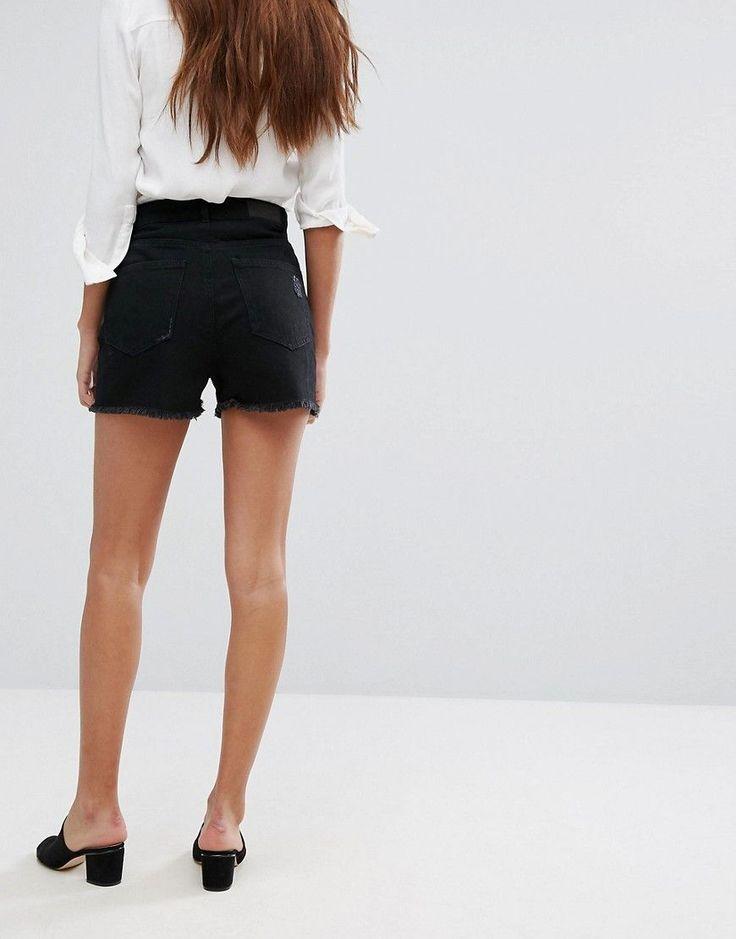 Vero Moda Denim Shorts with Frayed Hem - Black