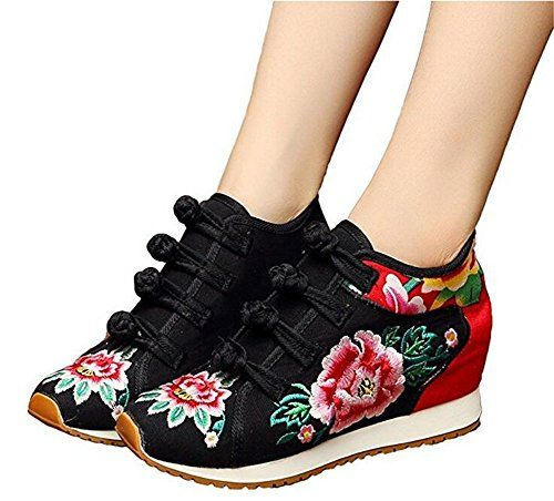 ZYZF Womens Embroidery Lace Up Platform Casual Sneaker Shoes  EB8ACNC9G