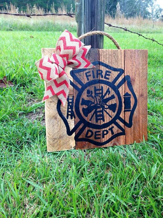 Fire Dept Cross pallet sign with burlap bow by TURQUOISETOO