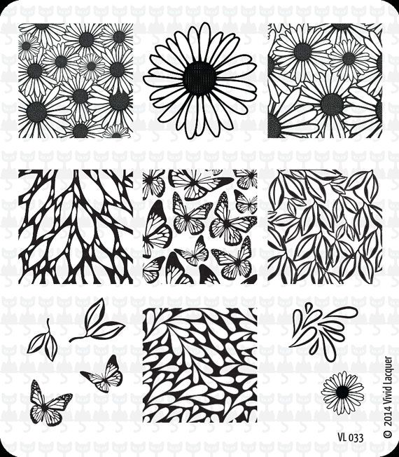 VL 033 Nail Art Stamping Plate by VividLacquer on Etsy, $8.00