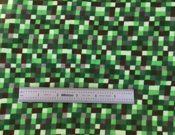1 2 yard snuggle green pixel fabric by the half yard 42 for Minecraft fabric by the yard