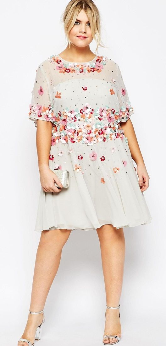 Plus Size Skater Dress with Embellishment
