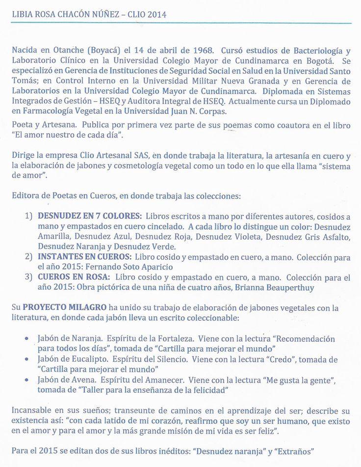 RESEÑA BIOGRÁFICA DE CLIO PARA DESNUDEZ NARANJA.