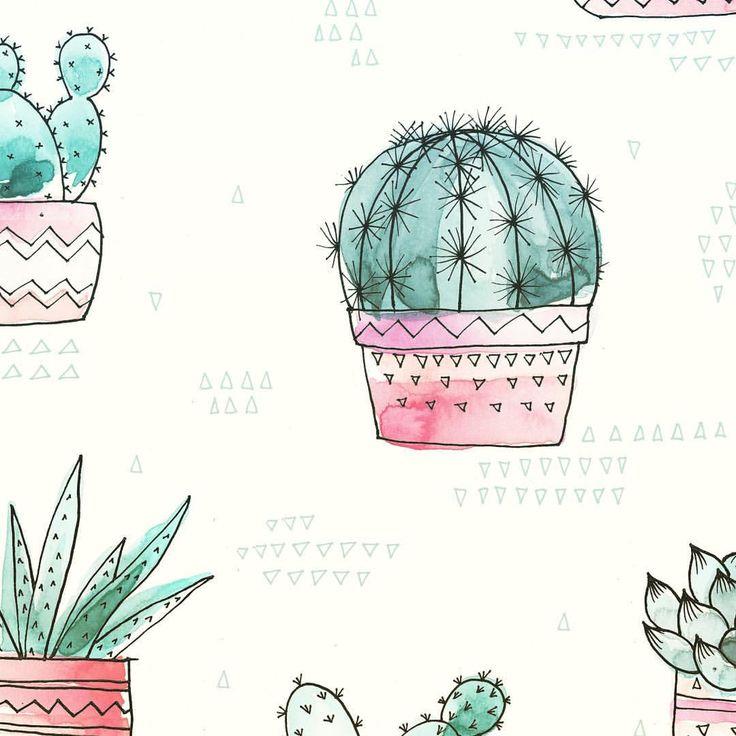 I spy cacti! #cactus #repeatpattern #textiledesigner #surfacepatterndesign #freelanceillustrator #watercolorpainting #cacti