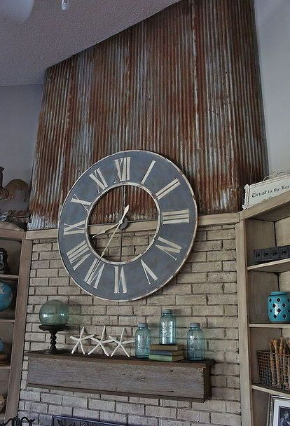 repurposed using an old barn tin roof and barn wood for a fireplace makeover, fireplaces mantels, home decor, mason jars, repurposing upcycling, Fireplace with repurposed tin and barn wood