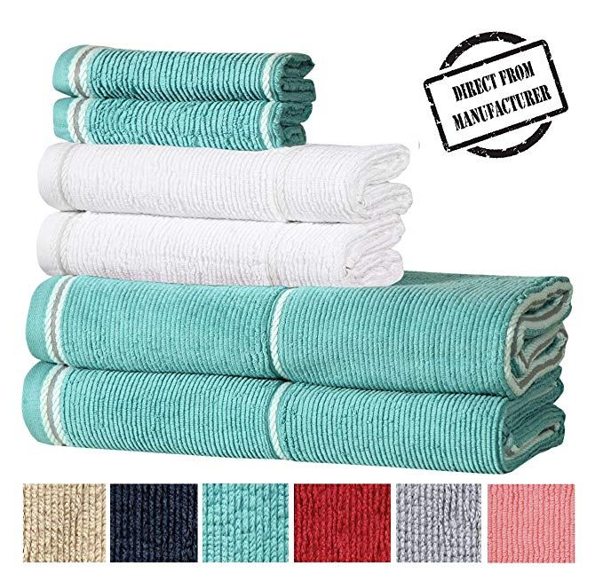 Textured Luxury Cotton Towel Set 6 Pieces 2 Extra Large Bath