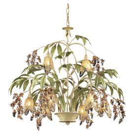 "Chandelier with leaf-inspired accents and glass shades.      Product: Chandelier  Construction Material: Metal and glass  Color: Antique white and green  Features: Leaf-inspired accents   Accommodates: (8) 40 Watt G9 halogen bulbs - includedDimensions: 24"" H x 28"" Diameter"