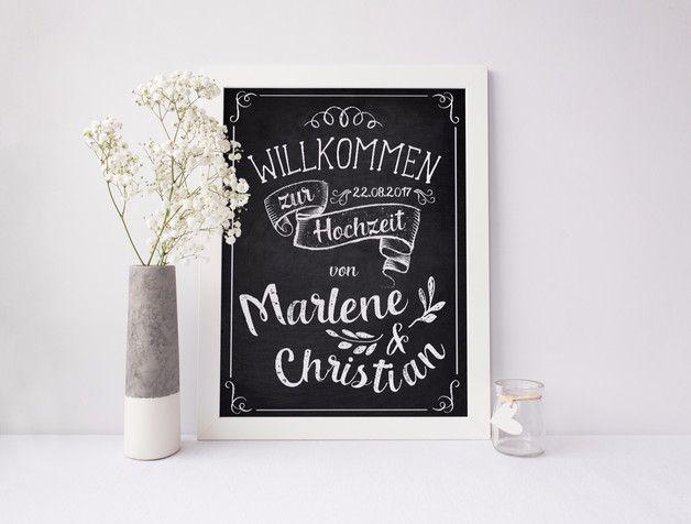 """*Tafel-Poster zur Hochzeit """"Vintage""""* Druck Begrüße deine Hochzeitsgäste mit einem individuellen Poster. Dieses stellst du am Eingang der Hochzeitslocation oder neben dem Sitzplan auf. Am..."""