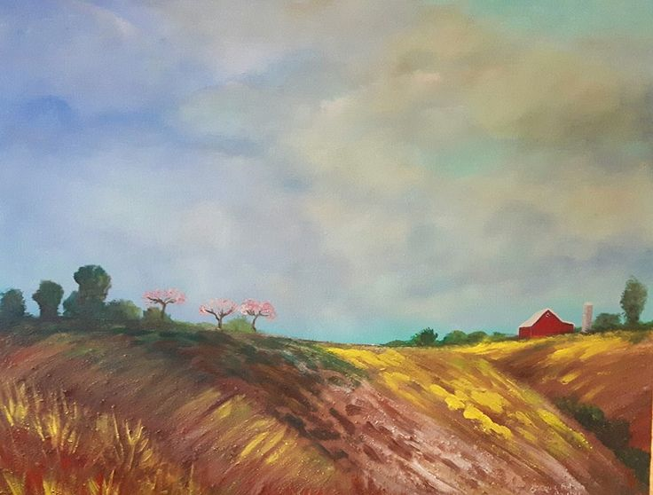 Spring in the Annapolis Valley . Painted with the Bay of Fundy Mud. Nova Scotia beach  Artist Jacquie Potvin Boucher