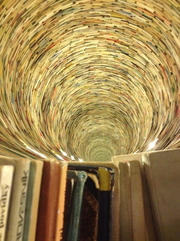 Endless pit of books at the Prague national library.