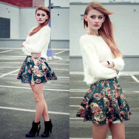 floral skirt -  więcej na www.STYLIZACJE.pl