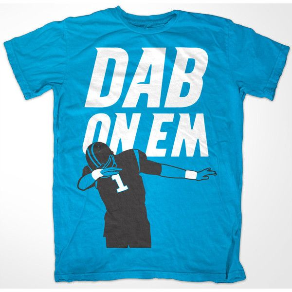 Cam Newton 'Dab On Em' Carolina Panthers t shirt ($20) ❤ liked on Polyvore featuring tops, t-shirts, shirts, blue shirts, blue tee, blue t shirt, tee-shirt, cotton tees and blue top