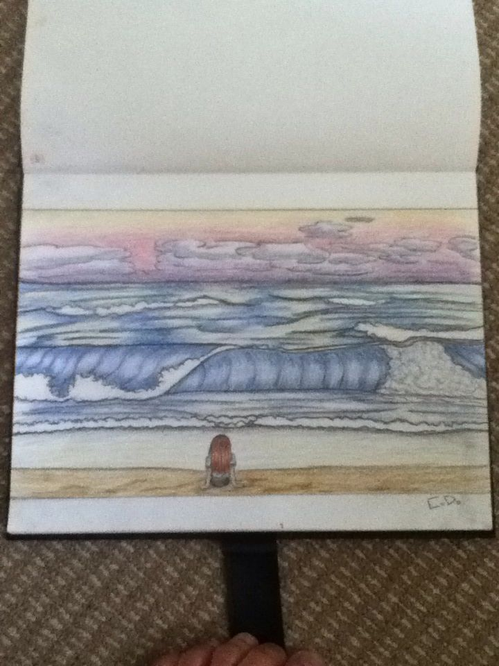 A drawing of the beach