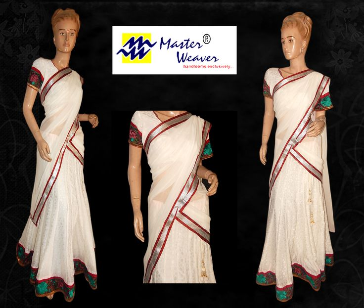 white half saree designed for a customer using a saree which had border and blouse. Kallis lehenga is done with simple border of a saree and georgette duppatta is given with patching done with ace border and cotton silk fabric  (bulk enquiries / whole sale enquiries, please contact our WhatsApp no 8801302000)