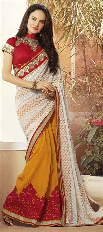 Let white help pop-out the red and yellow in your 6 yard long #saree!  #Partywear #IndianFashion #Women #wedding #lace #onlineshopping