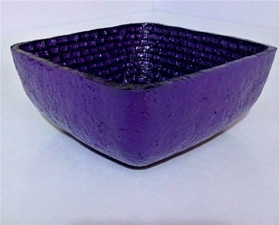 Paper Mache Bowl / Violet and Black Square Bowl / by HomeDecoByAna