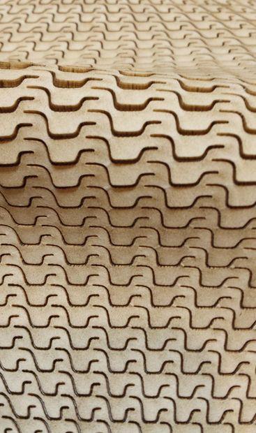 Superficie de madera, los que puede lograrse con un buen patrón y corte láser.