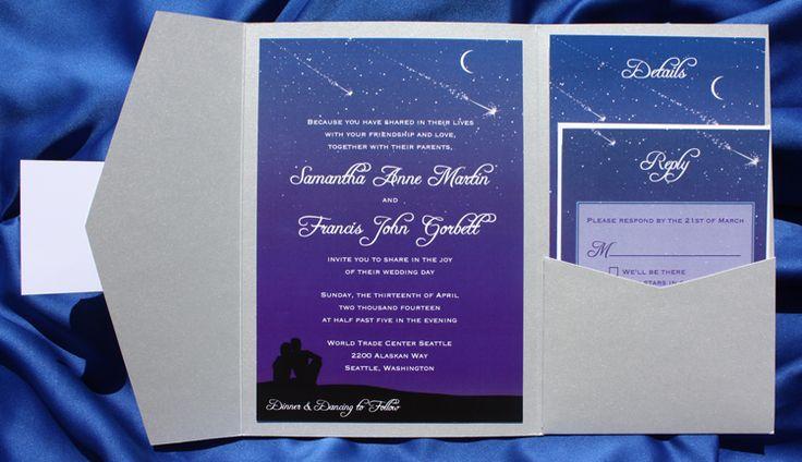 Star Wedding Invitations: Purple, Blue & Silver Star Gazing, Starry Night, Shooting
