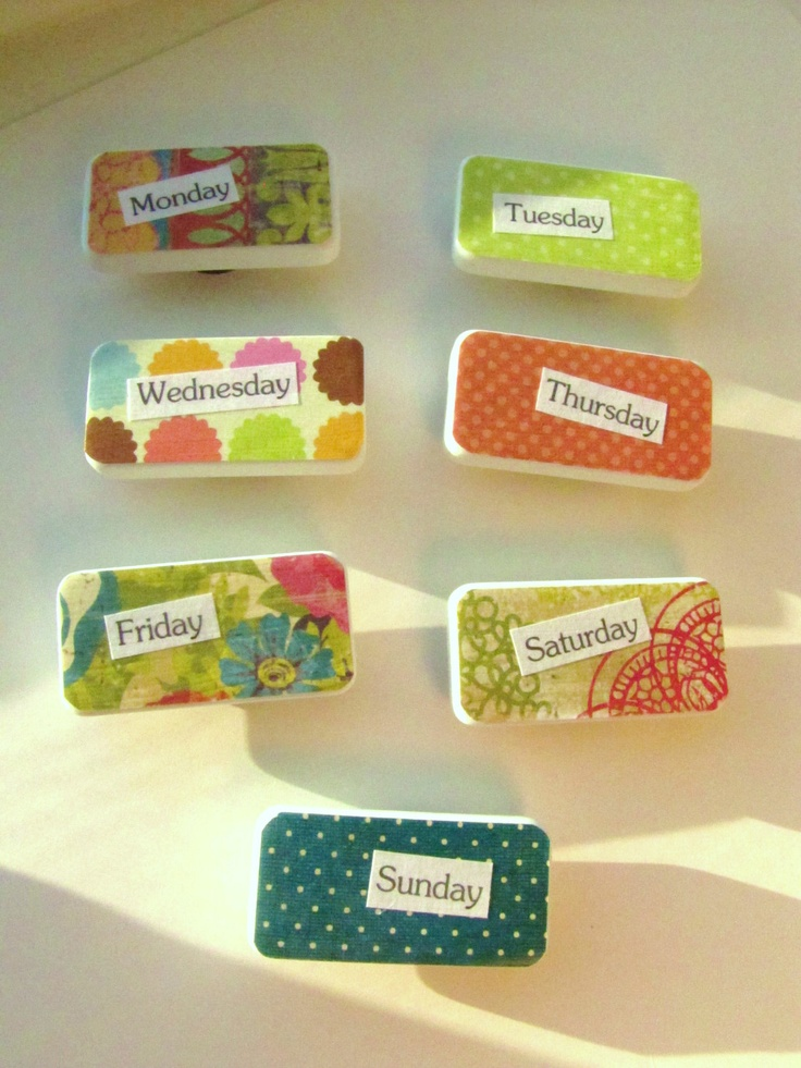 Domino MAGNETS. Back to School. Days of the Week. Hip Modern Retro Bright and Fun Decor Organization for Kitchen or office area. Locker.. via Etsy.