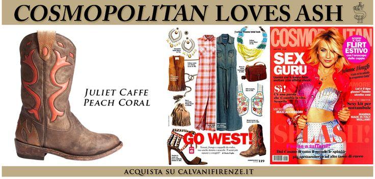#Cosmopolitan suggerisce gli #stivali #JulietCaffe Peach Coral di #Ash per un #rodeo-look estremamente #cool!