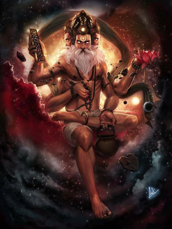 Brahma is the creator of the universe and of all beings, as depicted in the Hindu cosmology. The Vedas, the oldest and the holiest of Hindu scriptures, are attributed to Brahma, and thus Brahma is regarded as the father of dharma.